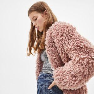 pink faux fur jacket